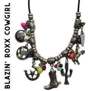 Silver Bead Cowgirl Western Charm Necklace Set